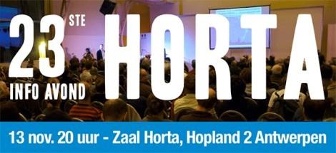 Uitnodiging – 23e HORTA info avond – 13 november 2017,20u
